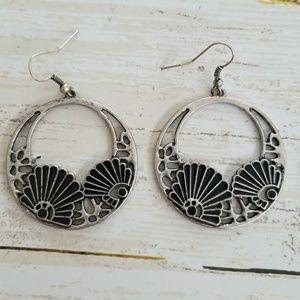 Jewelry - Deco inspired Silvertone hoop earrings